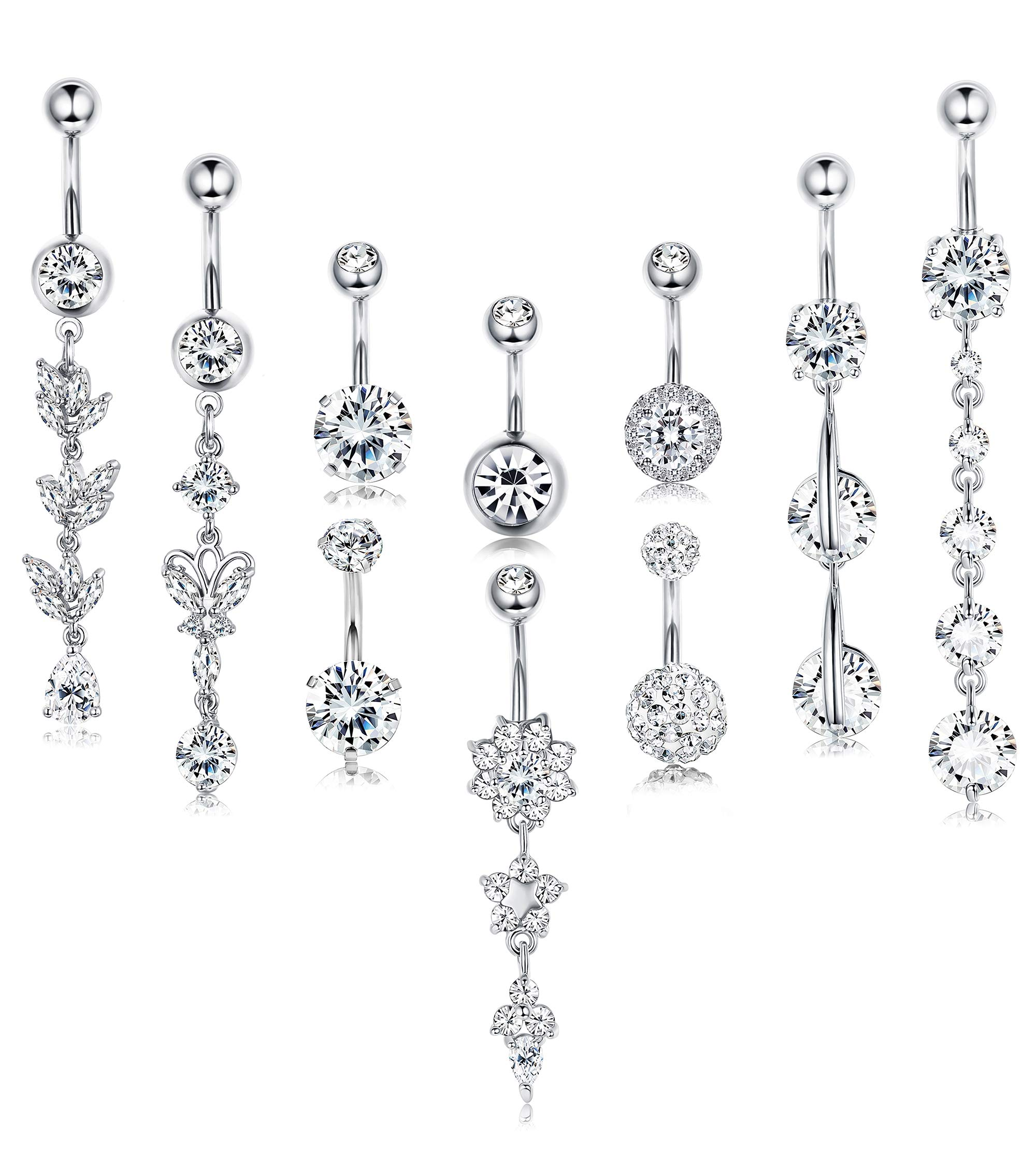Finrezio 10PCS 14G Stainless Steel Dangle Belly Button Ring for Women Girls Navel Clear CZ Inlay Body Piercing Jewelry Barbell by Finrezio