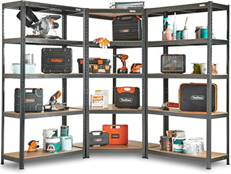 Vonhaus 5 Tier Garage Shelving 3pc Corner Bundle Metal Racking Steel Mdf Boltless Shelves Or Workbench Massive 2625kg Capacity 175kg Per Shelf Amazon Co Uk Diy Tools