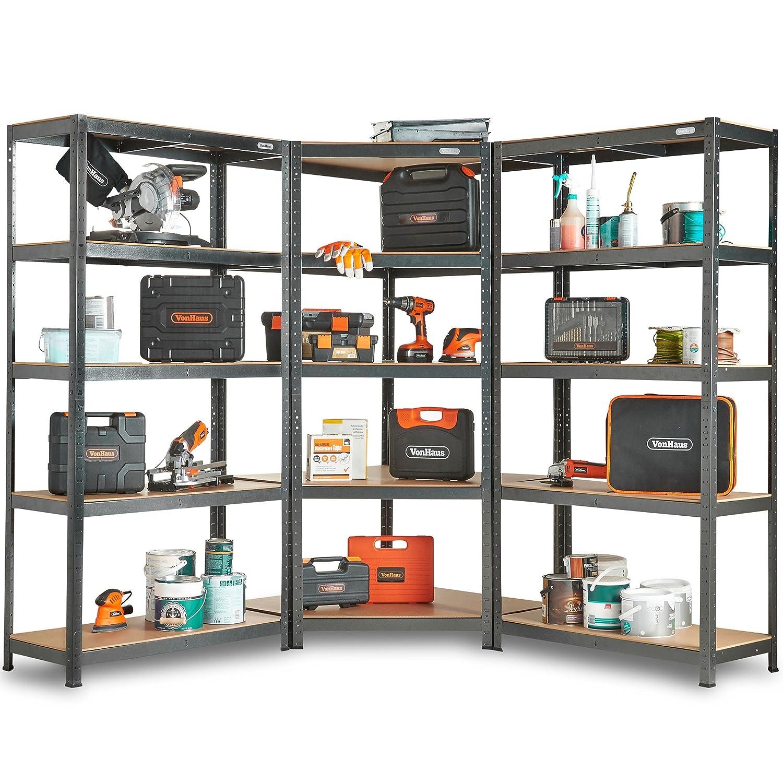 VonHaus 5 Tier Garage Shelving Corner Unit – Metal Racking, Steel & MDF Boltless Shelves - 875kg Capacity 175KG Per Shelf in a Hammered Grey Finish