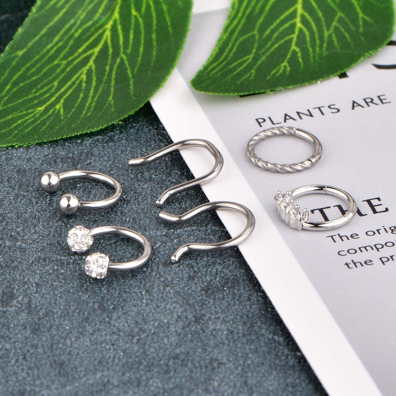 LAURITAMI 16G Stainless Steel Septum Nose Rings Hoop Clicker Ring Lip Cartilage Tragus Helix Daith Earrings Hoop Ring Piercing Retainer Body Piercing Jewelry