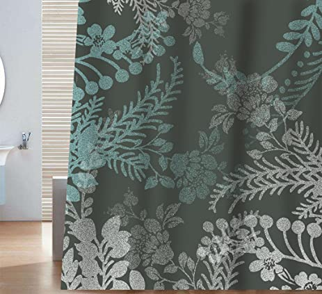 Sunlit Designer Elegant Floral Print Shower Curtain Gray And Blue Natural  Flowers Leaves Herbs Grass Tree
