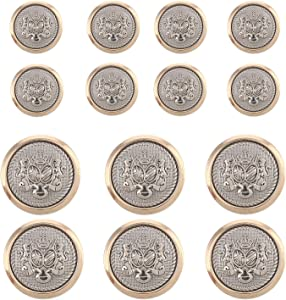 14 Pieces Polished Gold with Inlaid Silver Metal ~Lion & Stallion Royal Crest Shank Style Sport Coat Blazer Button Set