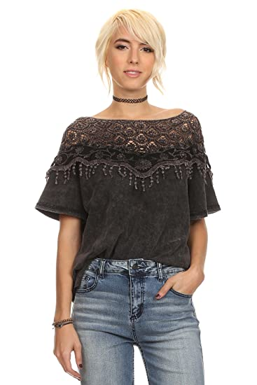 Women Gypsy Boho Crochet Off The Shoulder Bell Sleeve Top Blouse