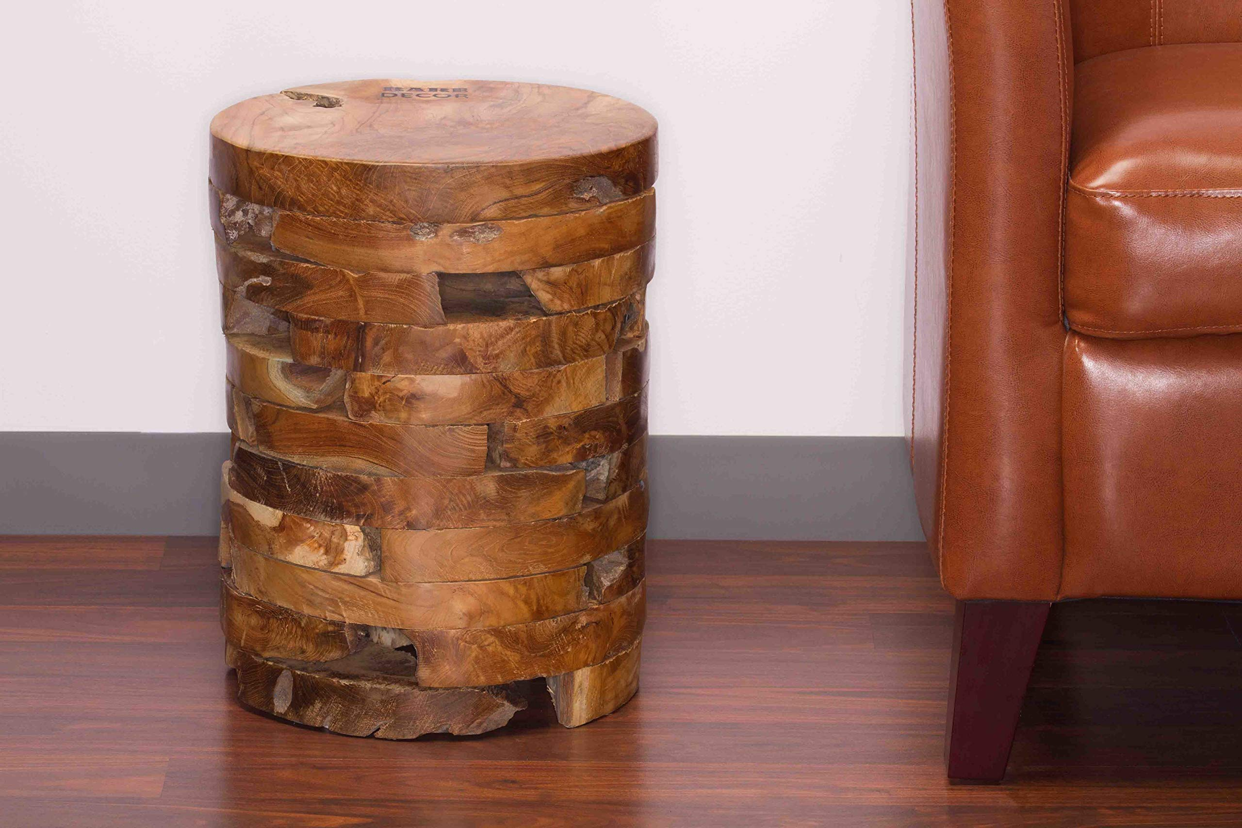 Bare Decor Stonehenge Artisan Accent Table in Solid Teak Wood by Bare Decor