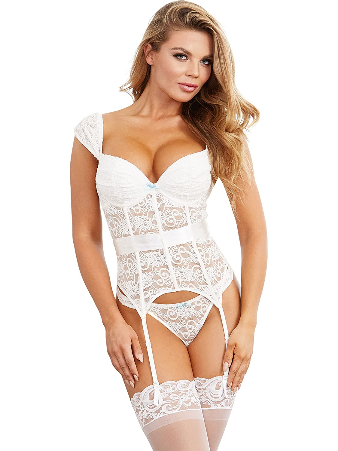 daba8eb9d0ea4 Amazon.com  Dreamgirl Women s Gartered Lace Bustier and Panty  Clothing
