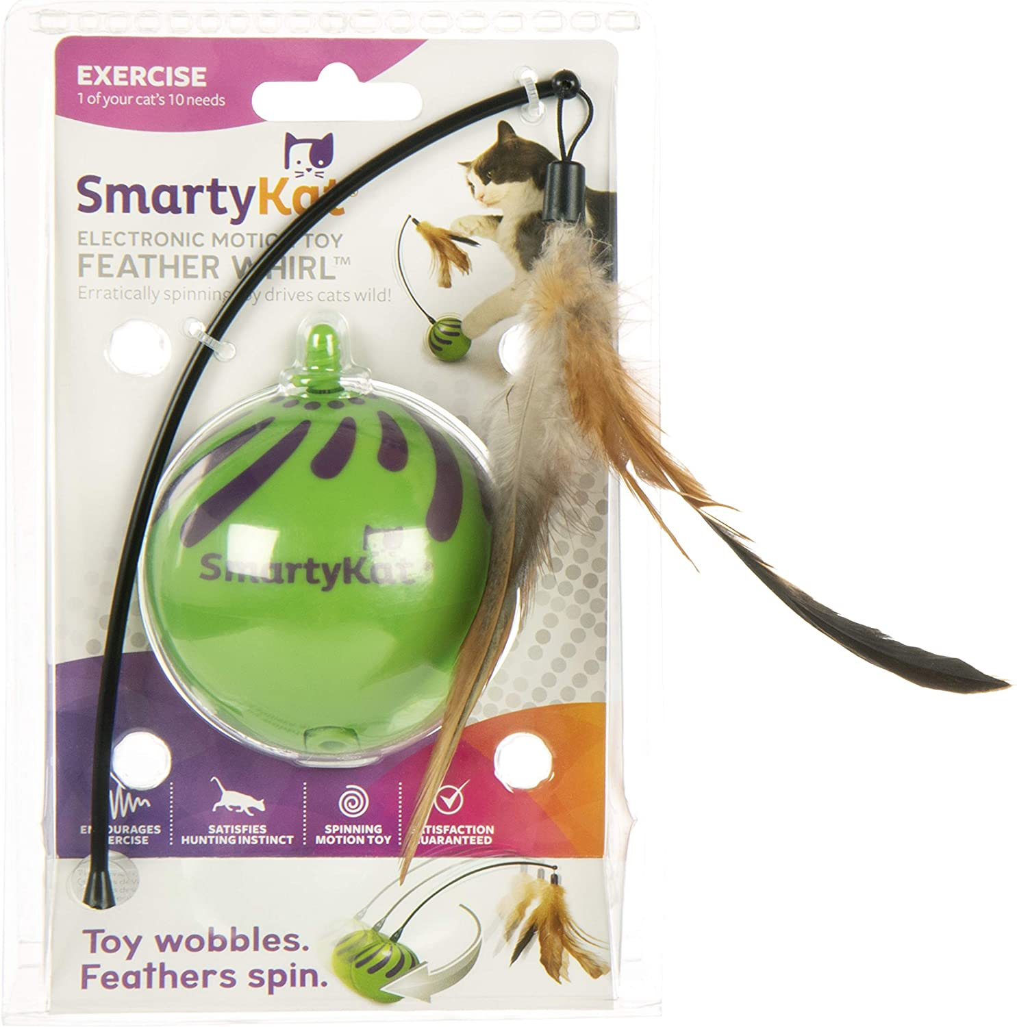SmartyKat Feather Whirl Electronic Motion Cat Toy, As Seen On TV (9621), green : Pet Supplies