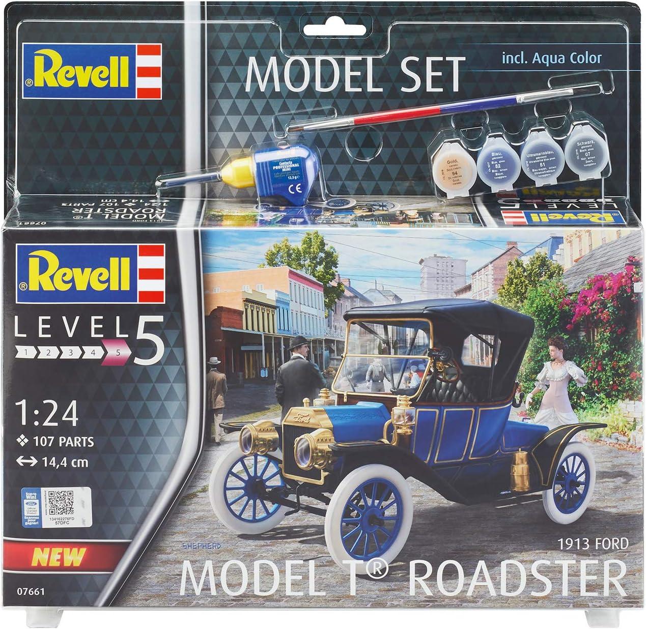 Multicolore Revell Set 1913 Ford Model T Road Kit di modelli in plastica con adesivo 67661 1//72 colori primari e pennello