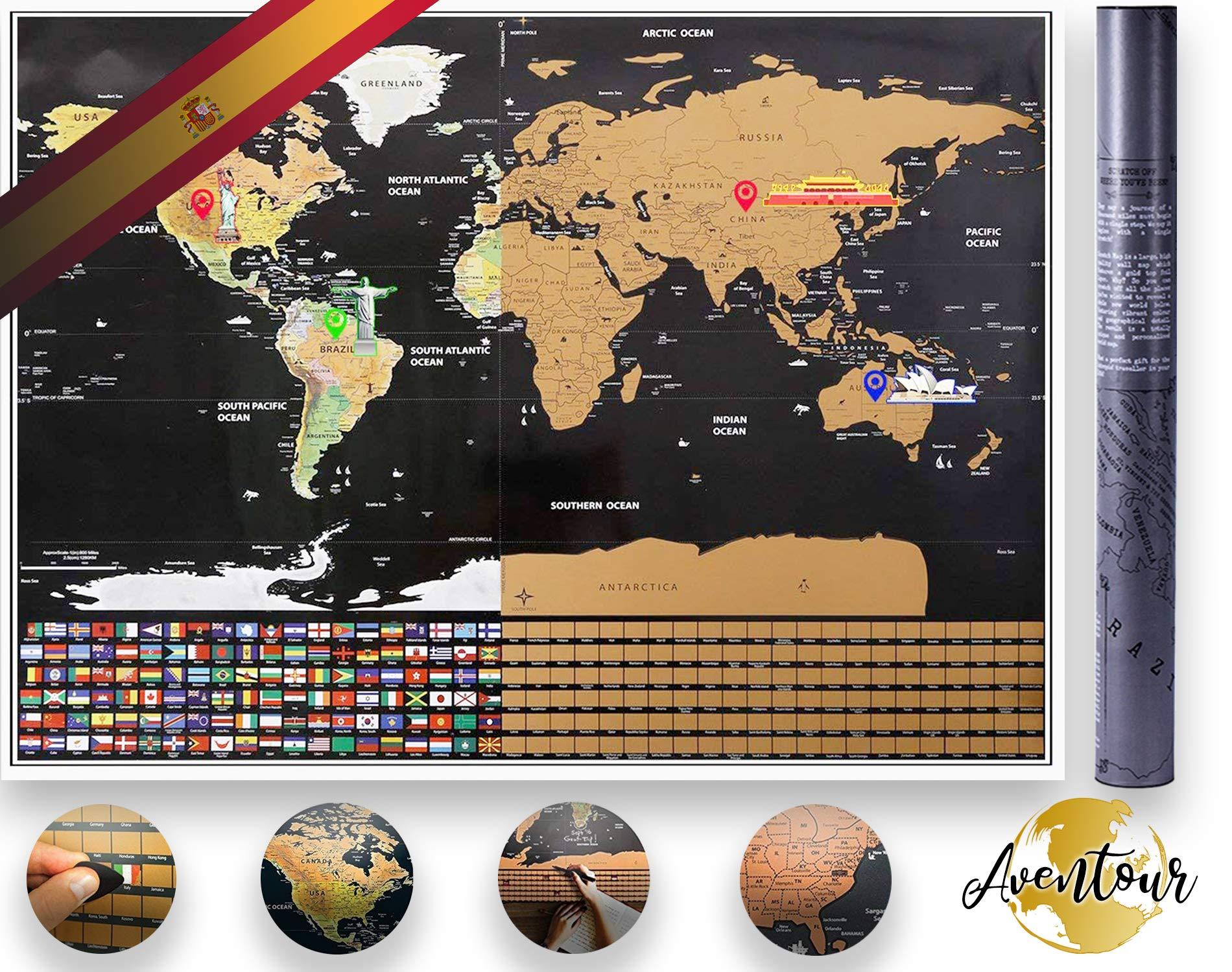 Aventour Mapa Mundi Para Rascar | 800x600mm Mural Grande Del Mundo XXL | Poster Mundial Con