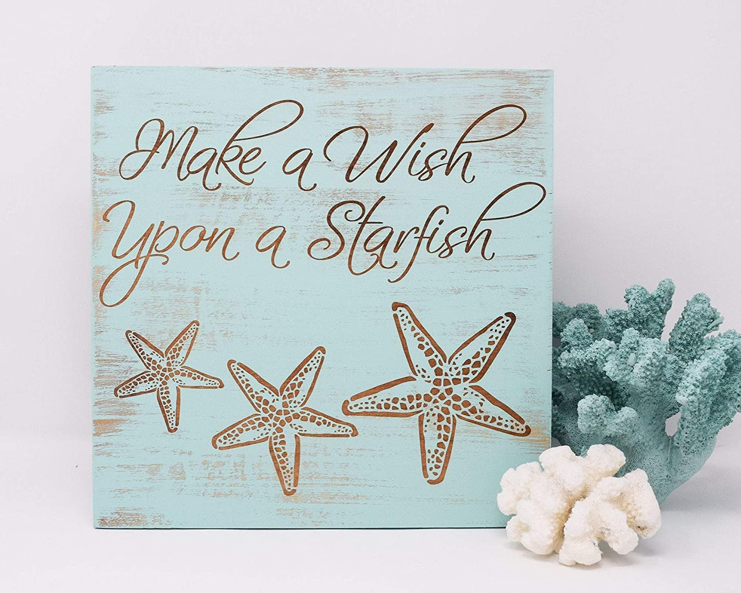 Make A Wish Upon A Starfish Wood Framed Sign Wall Hanging Signs, Farmhouse Family Wall Art Sign for Home Decor, Living Room and Kitchen, 12x12inch