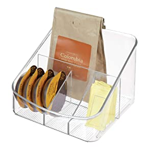 "iDesign Linus Plastic Divided Coffee Supply Organizer, Holder for Filters, Sugar, Creamer, Beans, Sweeteners, Tea Bags, 6.3"" x 6.9"" x 5.2"" - Clear"