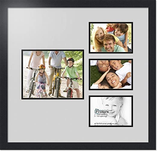 ArtToFrames Collage Photo Frame Double Mat with 1-8x10 and 4-5x7 Openings and Satin Black Frame