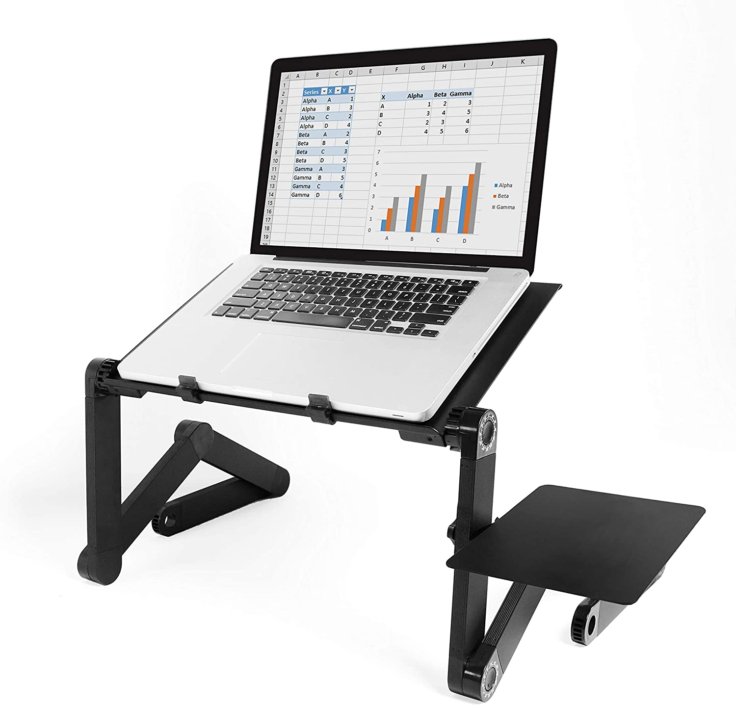 FLEX DESK Adjustable Laptop Stand with Mouse Pad – Portable Lightweight Standing Laptop Table for Desk Bed Sofa - Ergonomic Lap Workstation, Keyboard Riser with Ventilation, Ultrabook MacBook Notebook