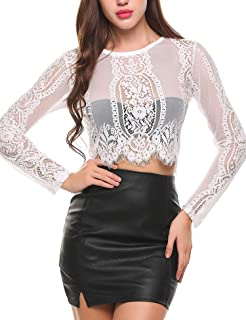 357e1053303 SoTeer Women s Fashion Slim Fit Lace Long Sleeve Short Sleeve Sexy Sheer  Blouse Mesh Lace