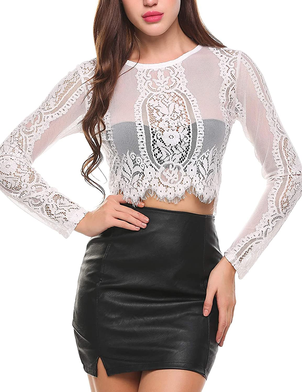 9780f003970921 SoTeer Women's Fashion Slim Fit Lace Long Sleeve/Short Sleeve Sexy Sheer  Blouse Mesh Lace Crop Top Shirt (S-XXL) at Amazon Women's Clothing store: