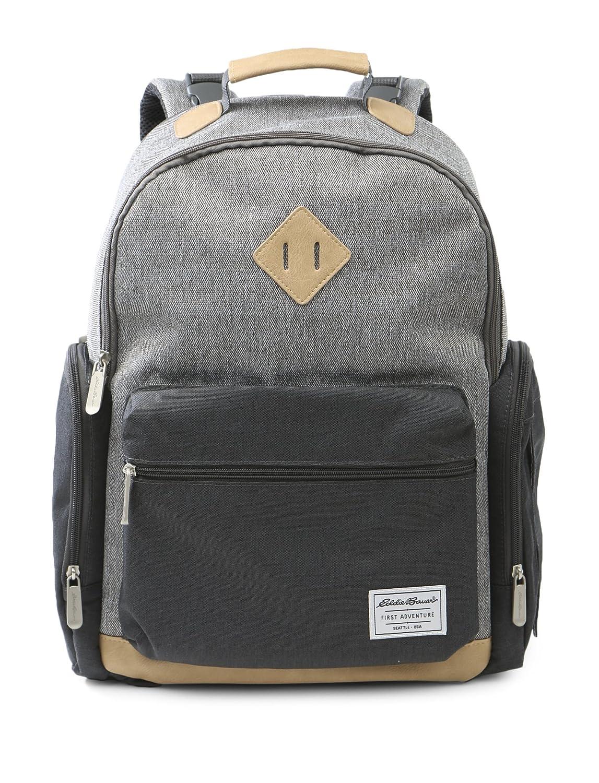 Eddie Bauer Places & Spaces Bridgeport Diaper Bag Backpack, Grey