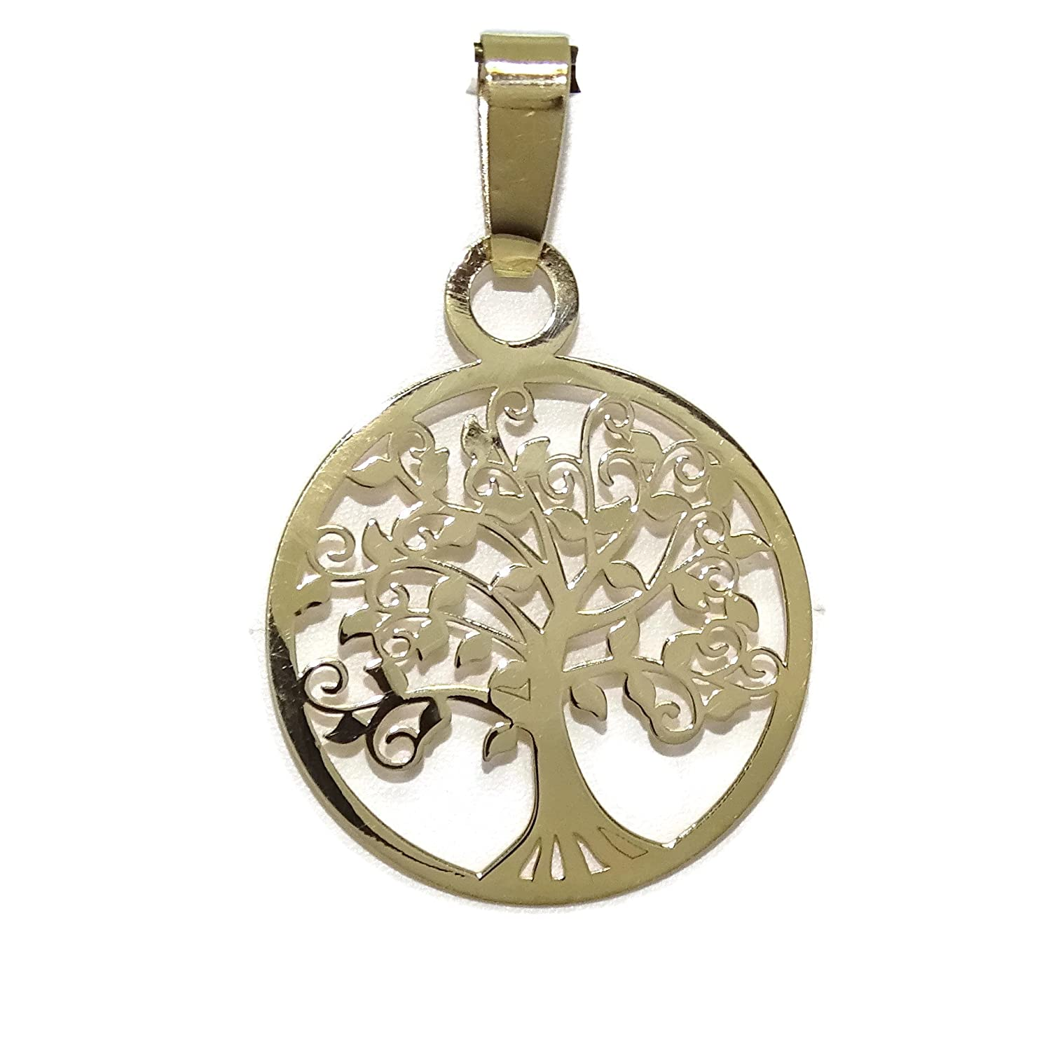 Never Say Never Yellow Gold Pendant With Tree Of Life of 2.00cm díametro. Flat
