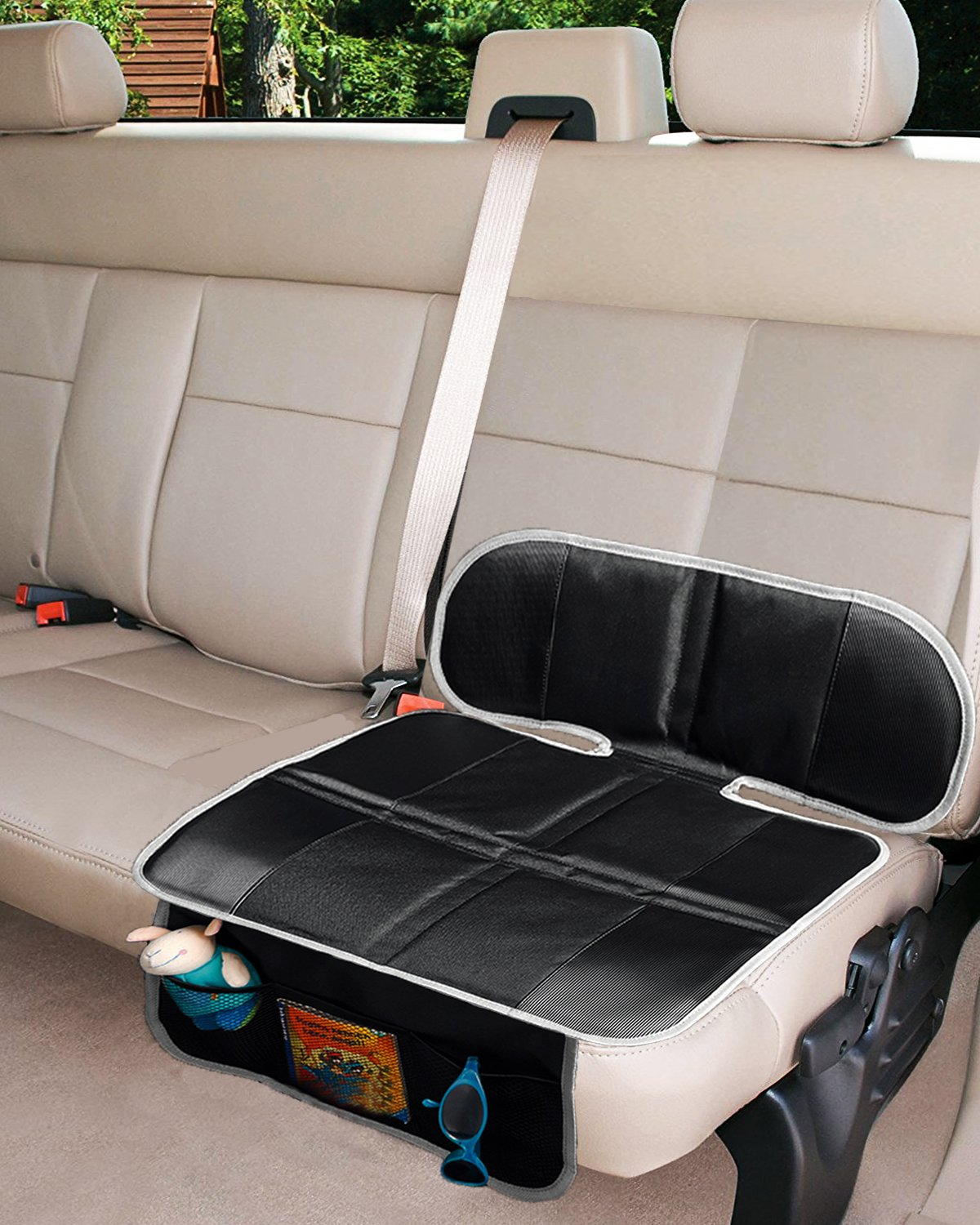 Car Seat Protector, Thick Padding Protection for Child & Baby Cars Seats, Dog Mat, Non Slip and Waterproof Protects Automotive Vehicle Upholstery with Extra Storage Pocket(Black)