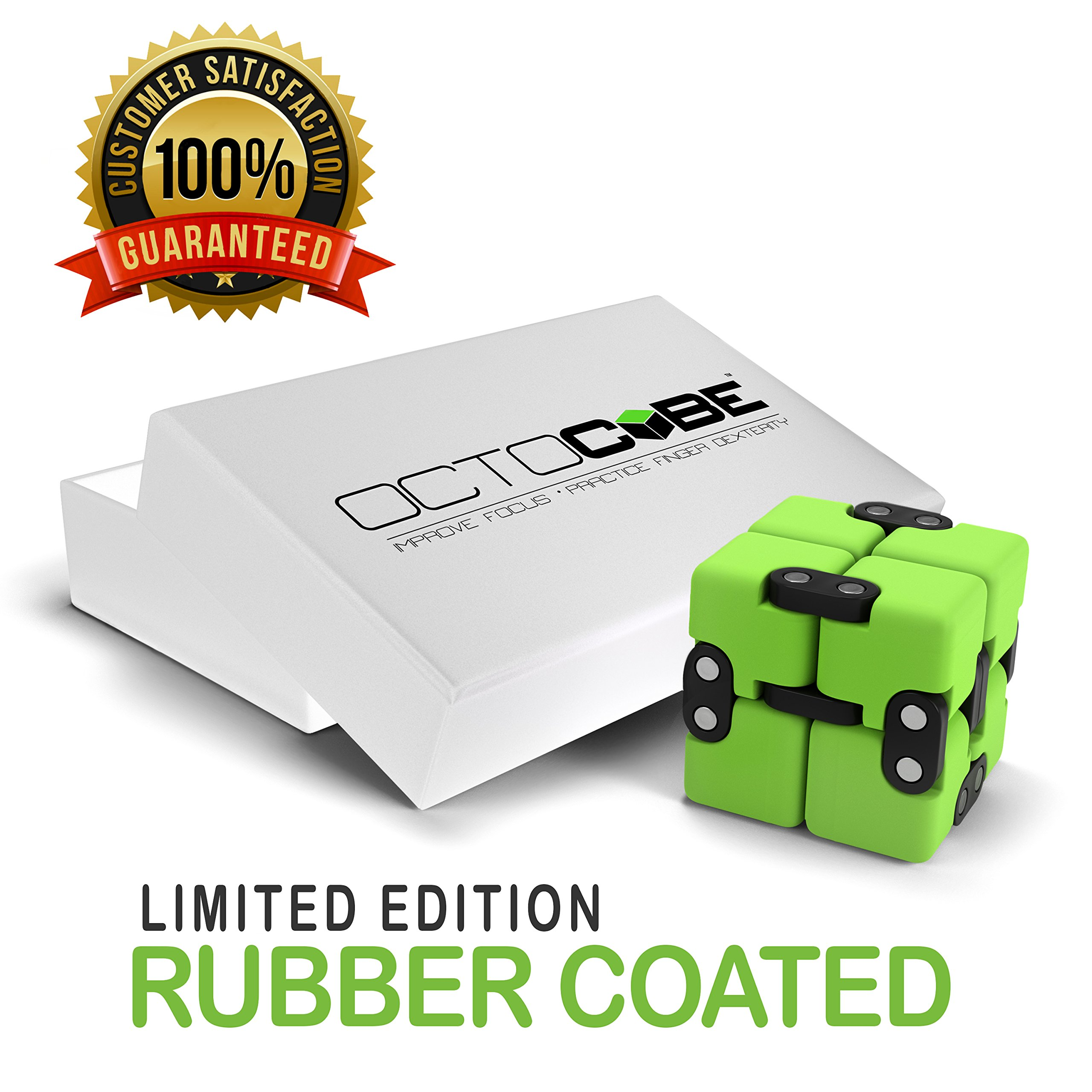 OCTOCUBE Infinity Cube Fidget Toy LIMITED EDITION - Cool Gadget for Kids, Adults - Prime Sensory Infinite Stress Relief   Prime Pressure Reduction for ADHD, Autism, Quit Smoking - GREEN RUBBER COATED