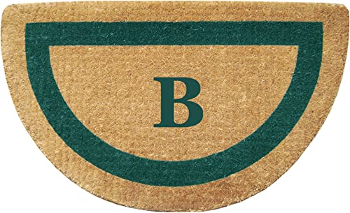 Heavy Duty 22 x 36 Coco Mat, Green Single Picture Frame Monogrammed B, Half Round