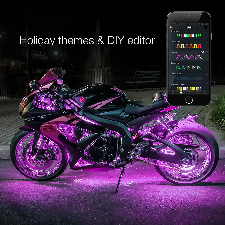 2nd Gen 6pc Pods 2pc Strips XKchrome App Control Motorcycle LED Light Kit Millions of Colors Patterns Music Sync Smart Brake Feature for Harley Honda Yamaha Suzuki Kawasaki Ducati Indian Victory XKGLOW KS-MOTO-MINI