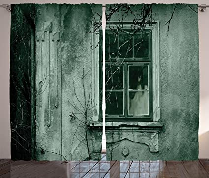 Ambesonne Horror House Curtains, View Of A Dramatic Haunted House Creepy  Environment Mystery Rear Window