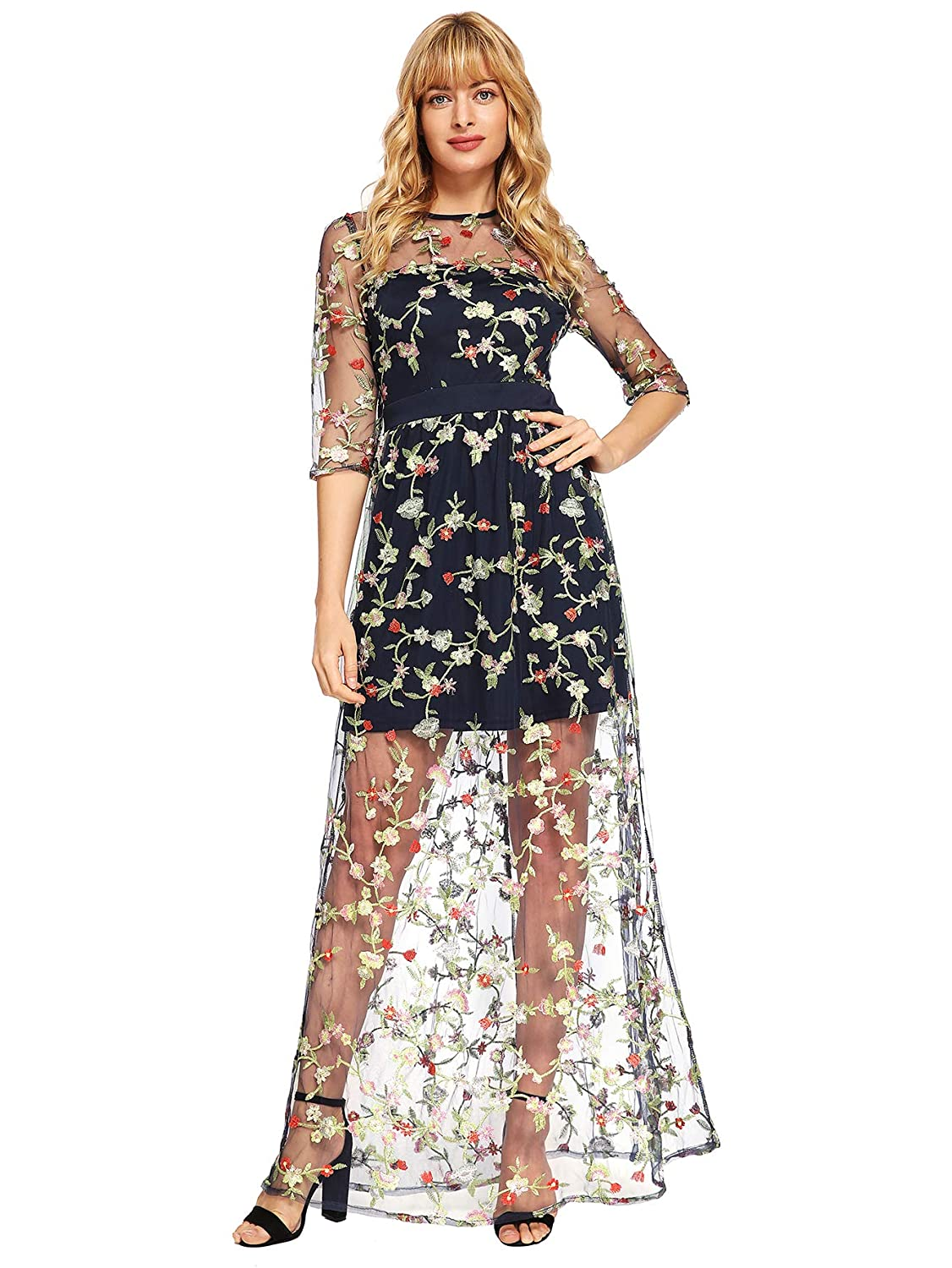 74c55a804f DIDK Women s A Line Floral Embroidery Mesh Sheer Evening Cocktail Dress at  Amazon Women s Clothing store