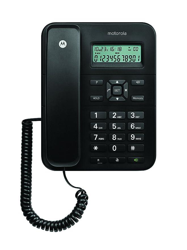 Motorola CT202C - Teléfono fijo analógico (manos libres, capacidad de 30 contactos), negro