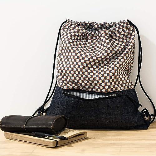 Mochila de tela tipo saco con bolsillo exterior con ...