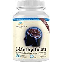 Methyl Folate 15mg (120 Capsules) | Non-GMO, Gluten-Free with Professional Strength Vegan L-Methylfolate | 5-MTHF Supplement for Mood, Homocysteine Methylation w/ No Fillers | Optimized & Activated