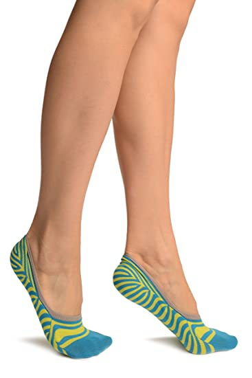 Blue & Kiwi Green Stripes Cotton Footsies - Footsies Socks - Azul Calcetines Tobilleros Talla unica