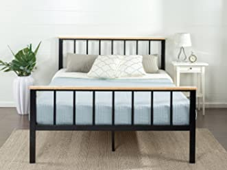 Zinus Contemporary Metal and Wood Platform Bed, Full