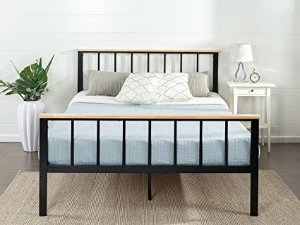 Amazon.com: Zinus Contemporary Metal and Wood Platform Bed, Twin ...