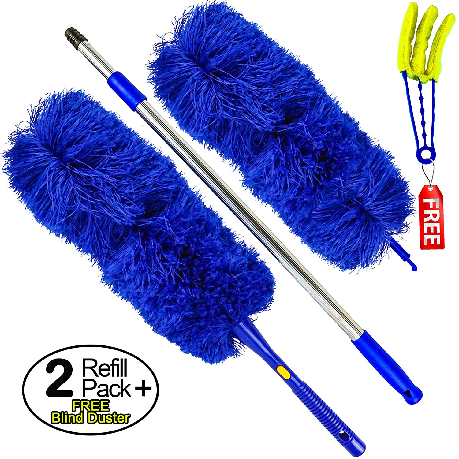 Temples Pride Microfiber Hand Duster with Extendable High Reach Extension Pole | Washable Feather Alternative for Ceiling, Fans, Cobweb Remover, Blinds, Limited Time Plus Size Bonus Pack Offer