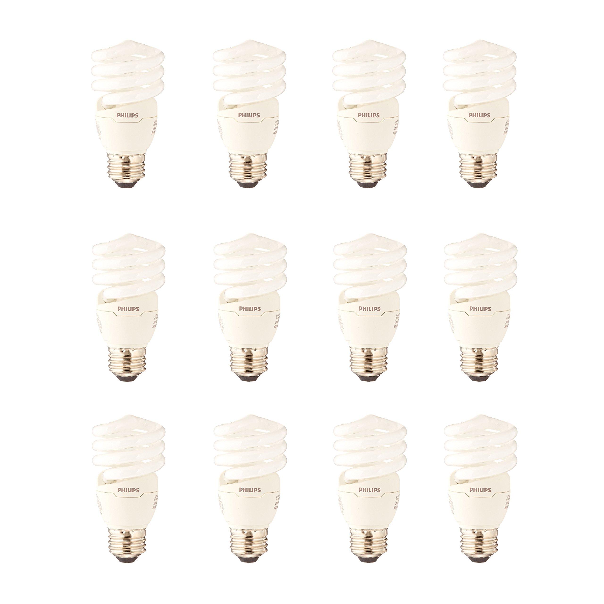 Philips CFL Light Bulb 13W T2 Twister Daylight 6500K, 60 Watt Equivalent (12 Pack)
