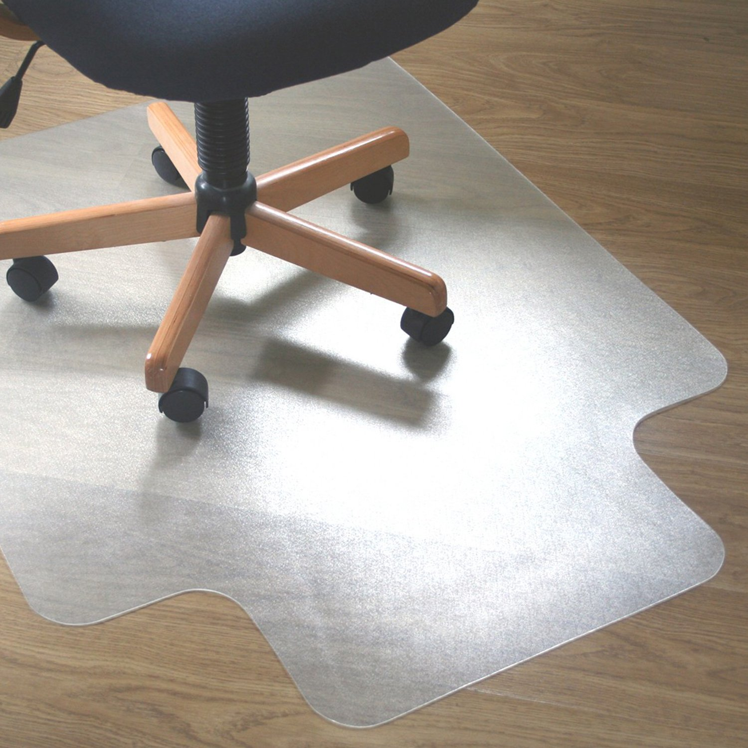Lutema Clear PVC Plastic Chair Mat for Carpet Or Wood Floors 36'' x 48'' Non-Slip Plastic Mat - Office Floor Protection Plastic Mat with Lip - PVC Plastic Mat for Office Chair (1 Pack Smooth Back)