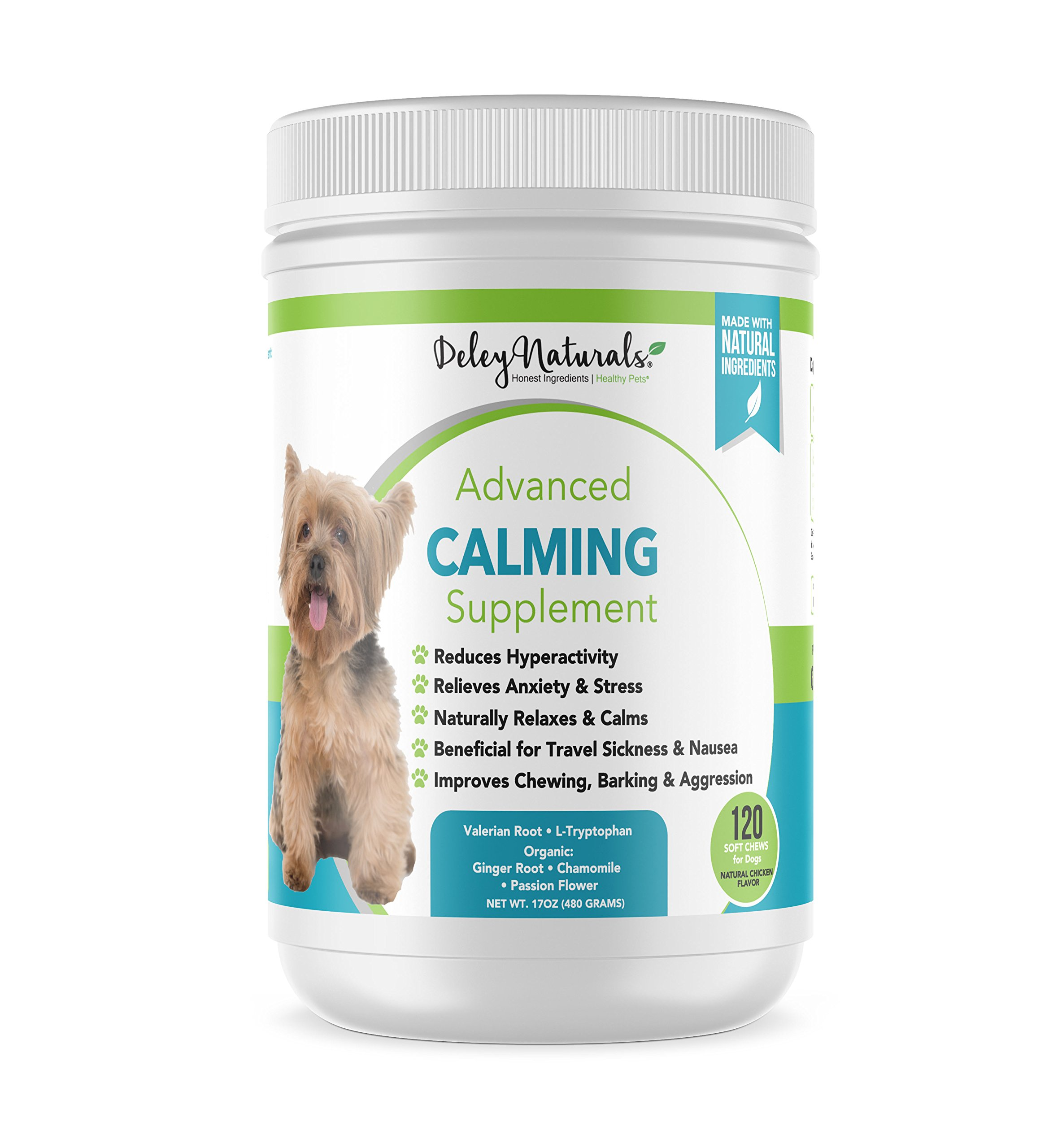 Daily Anxiety Support for Dogs - Separation Anxiety for Dogs, Travel, Groomers, Fireworks & Barking - Valerian Root and L-Tryptophan - Made in USA, All Natural, Grain Free - 120 Chicken Soft Chews by Deley Naturals