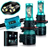 Glowteck LED Headlight Bulbs Conversion Kit - H13(9008) CREE XHP50 Chip 12000 Lumen/Pair 6K Extremely Bright 68w Cool White 6500K For Bright & Greater Visibility 2 Year Warranty