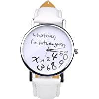 "WANGSCANIS® ""Whatever, I'm late anyway"" Women's Fashion Analog Digital Quartz Birthday Gift Faux Leather Wristwatch White"