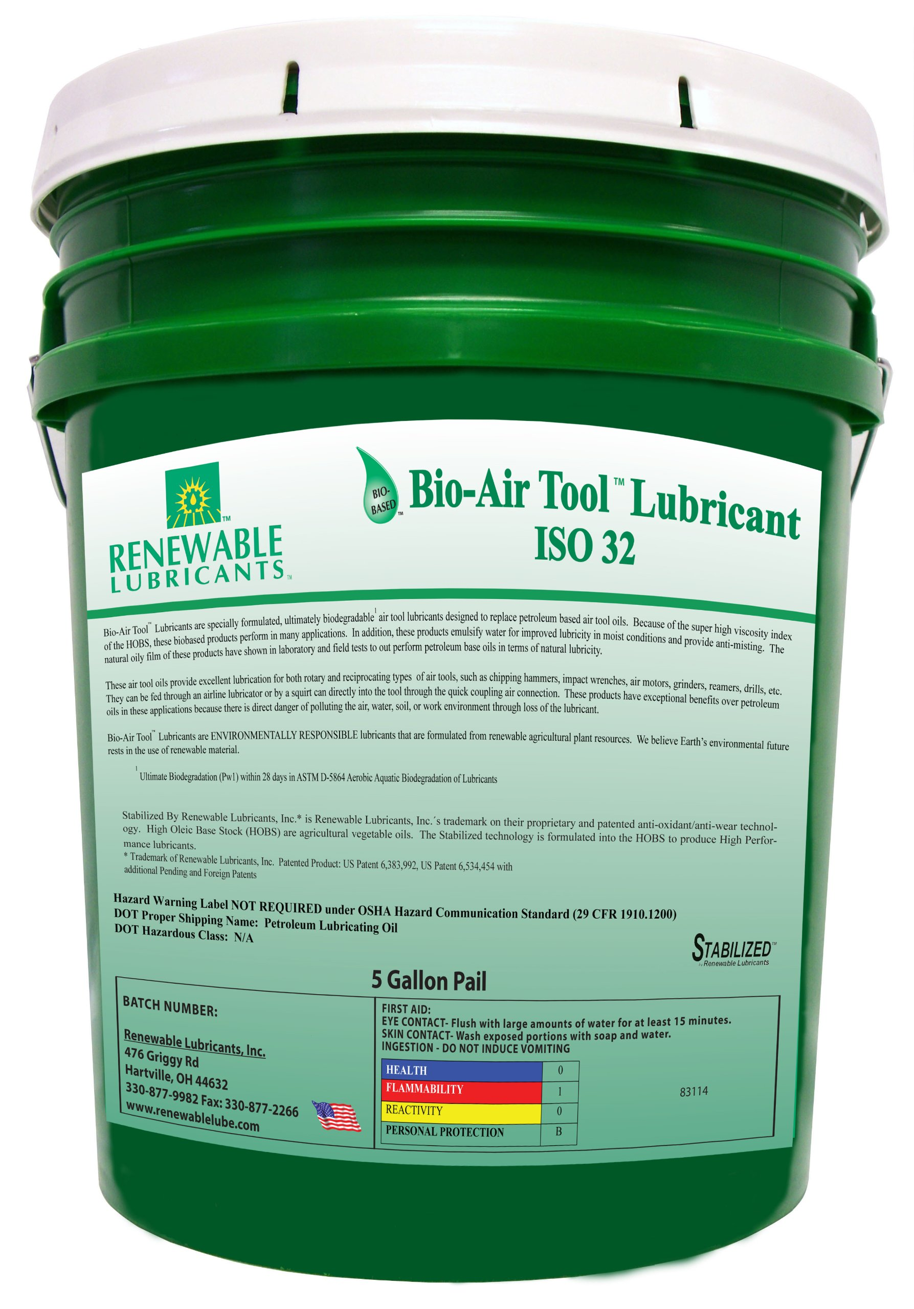 Renewable Lubricants Bio-Air Tool ISO 32 Lubricant Oil, 5 Gallon Pail by Renewable Lubricants