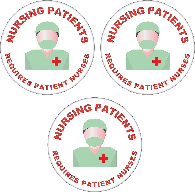 Nursing Patients Requires Patient Nurses 59mm Badge NHS//Doctor//Hospital Statement 3 Pack