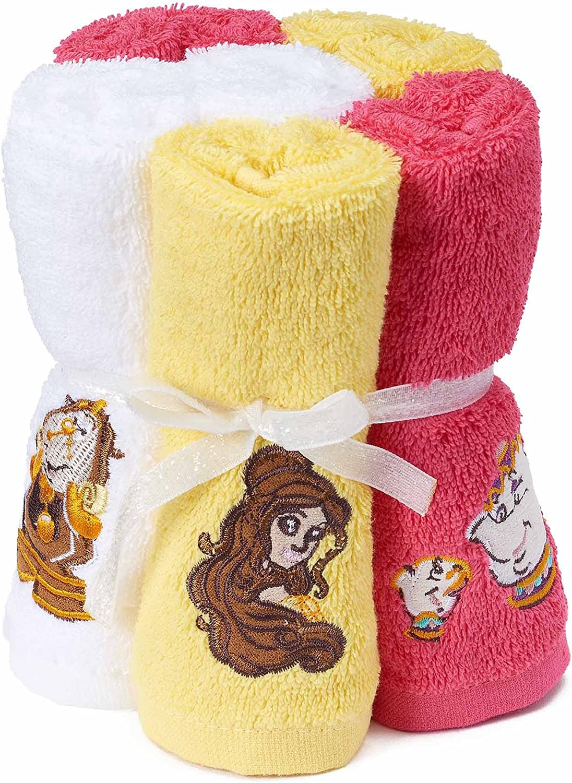 Disney La Bella y la bestia 100% algodón rizo Pack de 6 toallitas para niños – 12