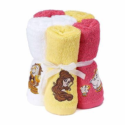 Disney La Bella y la bestia 100% algodón rizo Pack de 6 toallitas para niños
