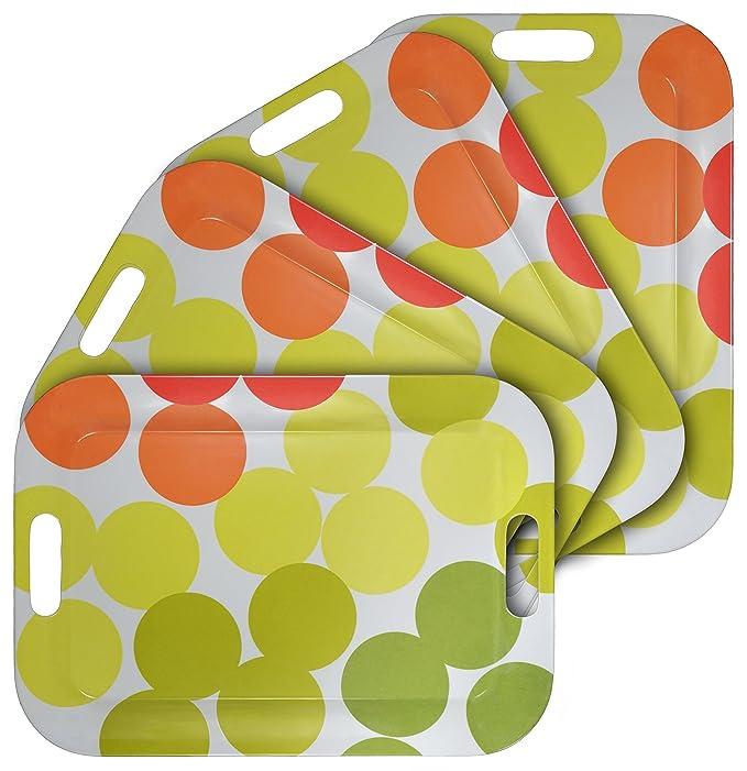 4 opinioni per WUMN Vassoio Colorato in Plastica con Maniglie, BPA-free Vassoio da Portata