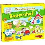 HABA 305471 – Mina första pussel – gård, pusselsamling för barn från 2 år med 5 bondgårdsmotiv och en träkatt för att…