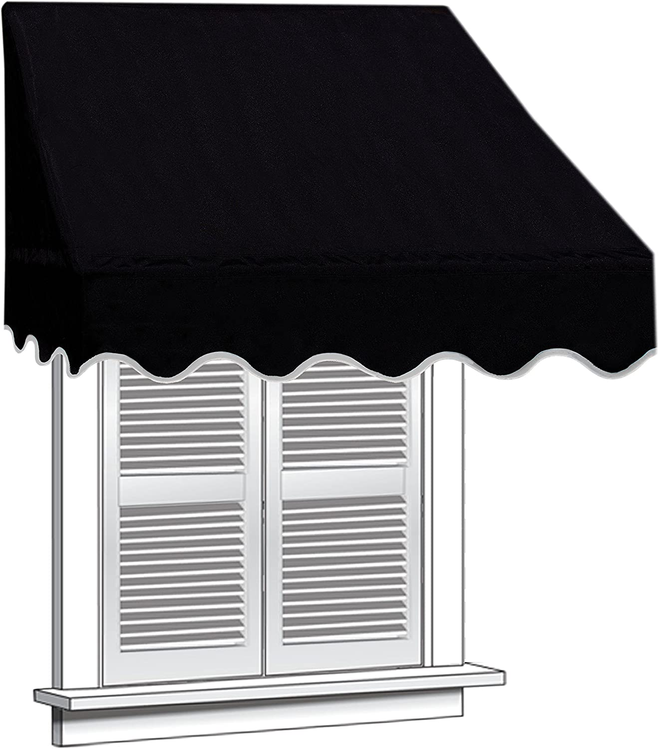 ALEKO WAW6X2BLACK81 Window Canopy Decorator Awning - 6 x 2 Feet - Black