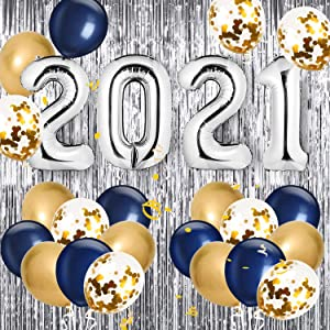 Graduation Party Supplies 2021- 40 Inch Foil 2021 Balloons with 7 Gold Confetti Balloons,Blue and Gold Latex Balloons, 1 Metallic Curtain for Graduation Decor, Class Of 2021 Grad Party Decorations