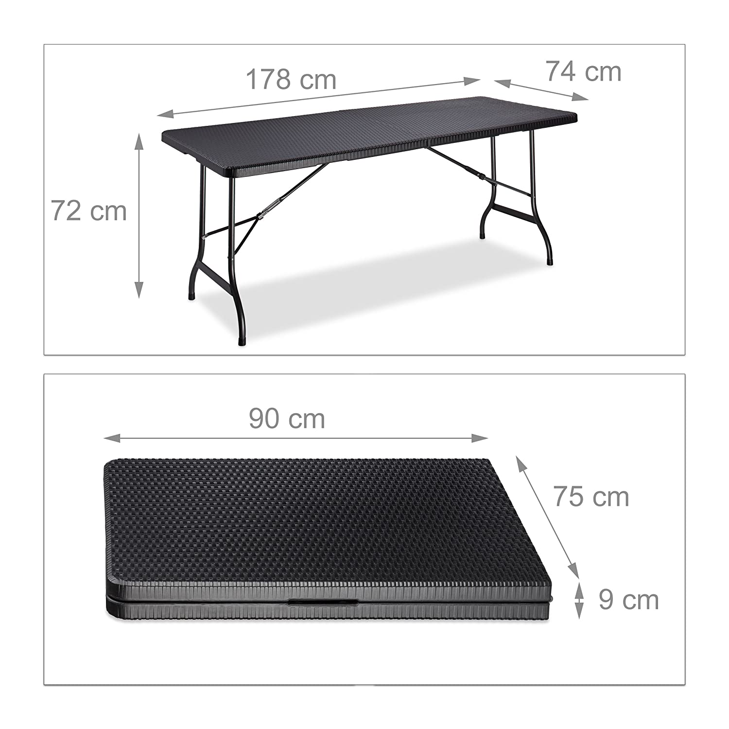Camping Table Brown Relaxdays BASTIAN Folding Garden with Handle Large HxWxD: 72 x 178 x 74 cm 74x178x72 cm