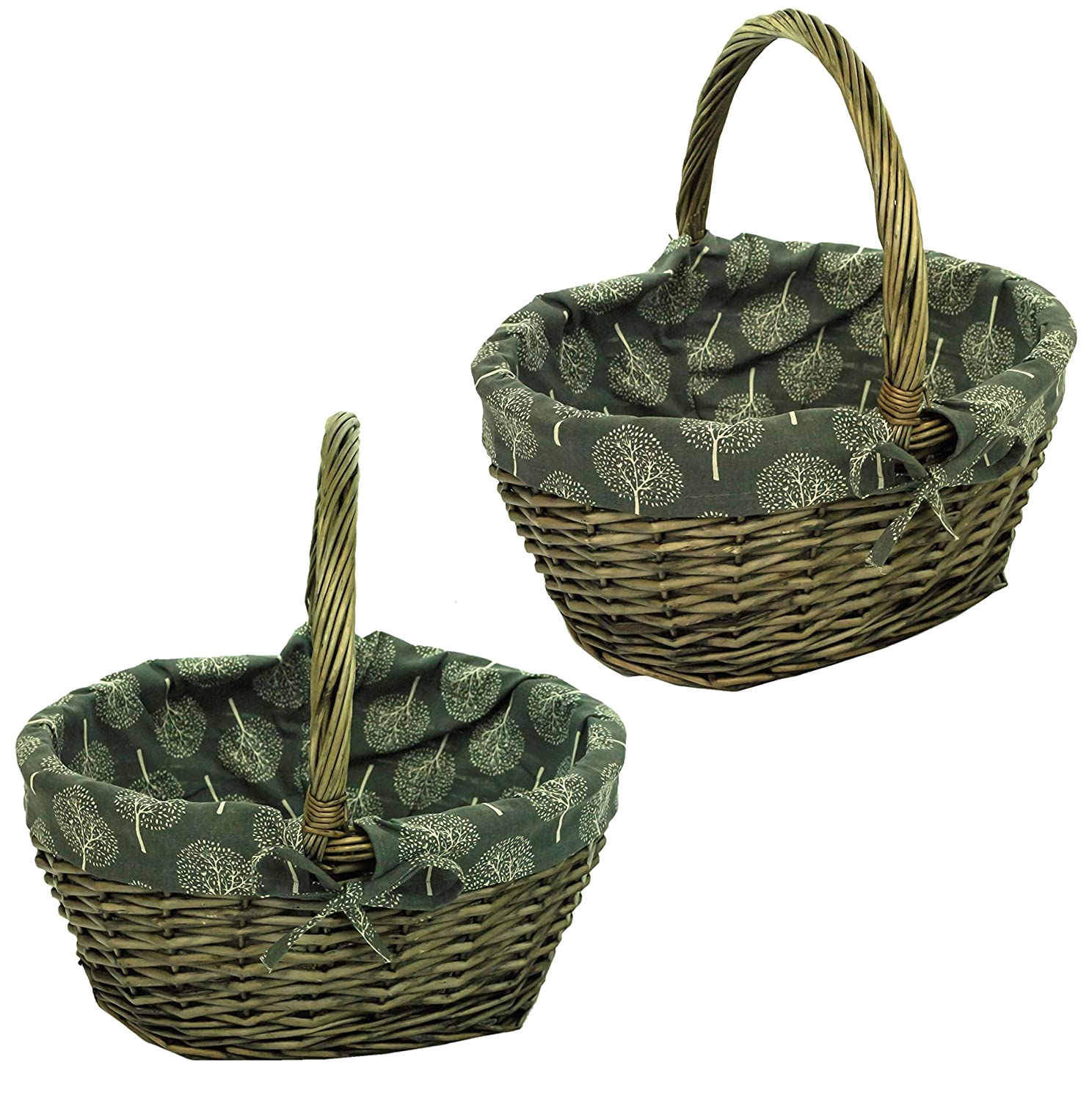 east2eden Brown Wicker Willow Traditional Shopping Storage Display Basket Hamper with Dark Mulberry Liner (Set of 2 Small) e2e