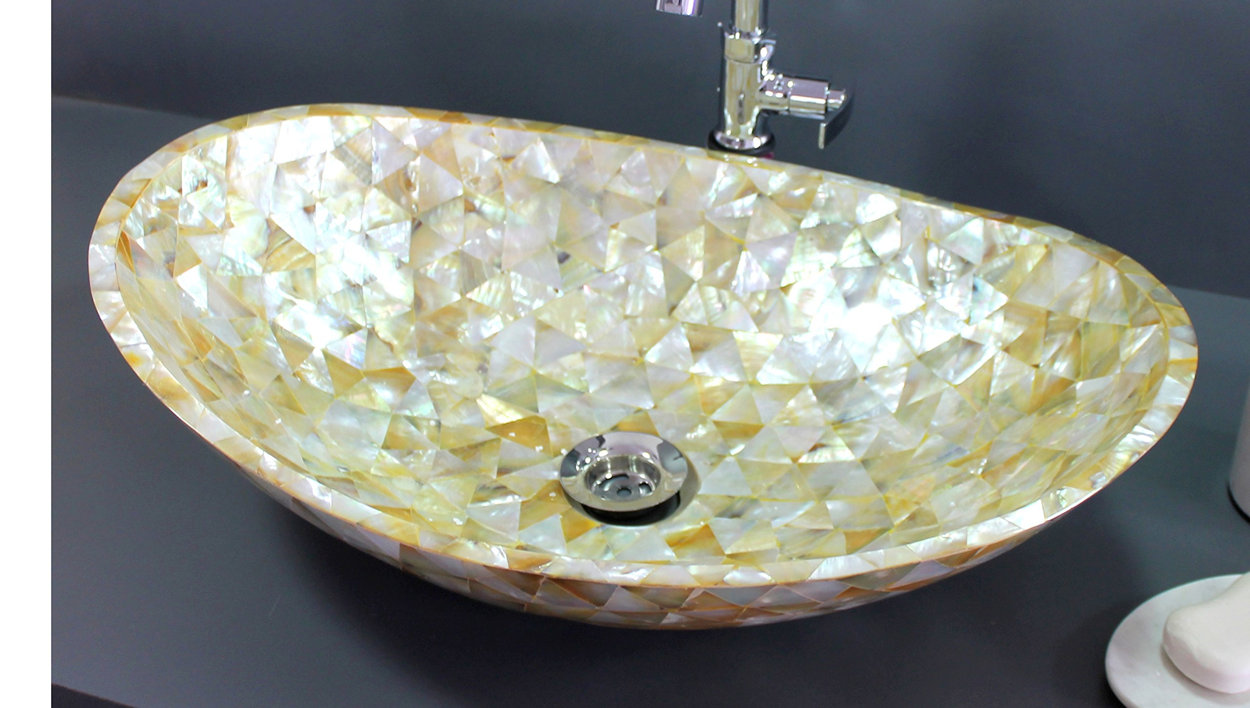 KLEO Luxurious Mother of Pearl (Big Sea Shells) - Wash Basin/ Washbowl / Sink/ Washstand - Golden by KLEO
