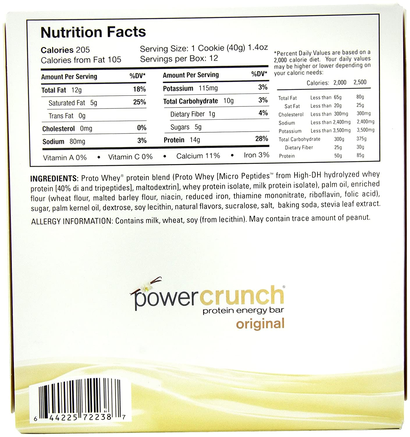 Power Crunch Protein Energy Bar Orignal, French Vanilla Creme, 1.4-Ounce Bar Pack of 12